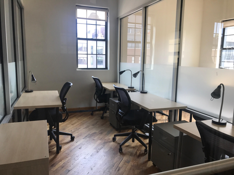 Green Desk - 195 Plymouth Street - 4 Desk - Window View