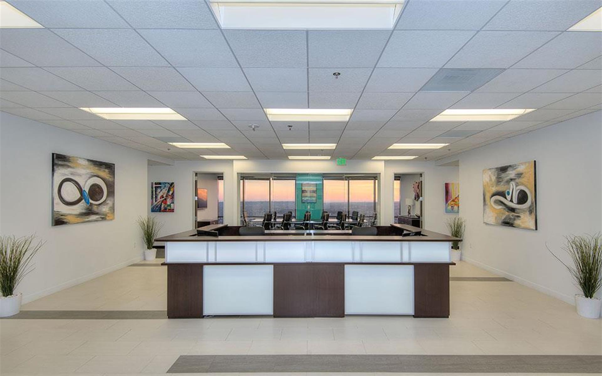 Open desk for 1 at titan offices penthouse liquidspace for Flooring los angeles