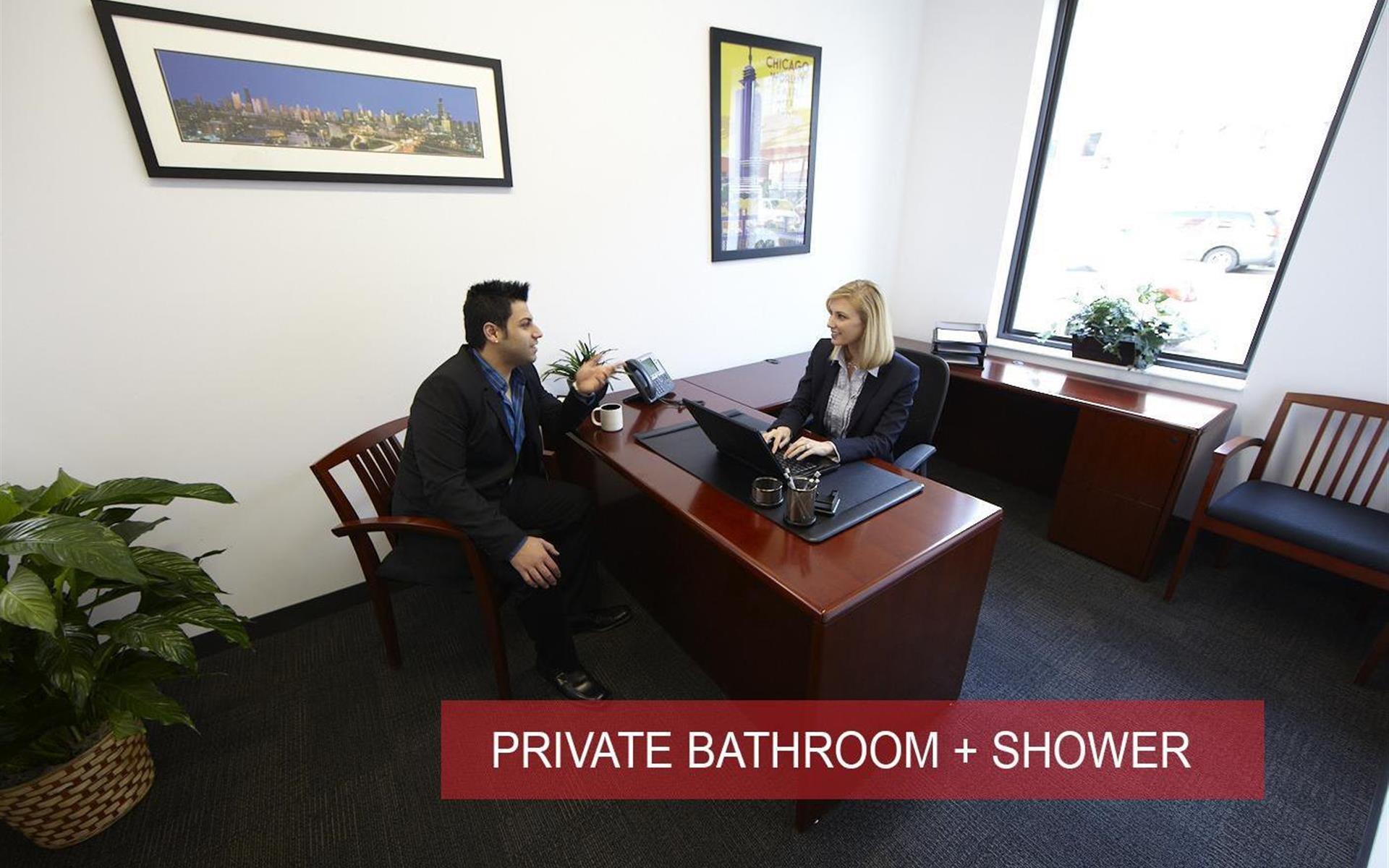 Inspire Business Center - Large Window Office-Restroom-Suite 317