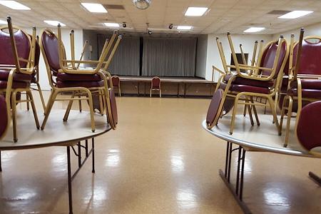 San Jose Masonic Center - Dining room with stage
